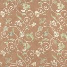 Brown Beige Green Gold Suede Upholstery Fabric By The Yard Embroidered Floral Vines Pattern B105