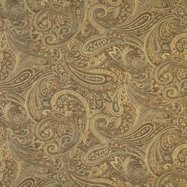 """54"""""""" Wide F330 Brown, Gold And Blue, Paisley Contemporary Upholstery Grade Fabric By The Yard"""