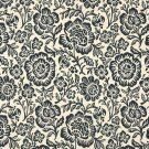 """F407 Navy Blue And Beige Floral Matelasse Reversible Upholstery Fabric By The Yard 