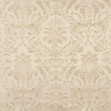 "54"""" Wide F555 Ivory, Floral Pineapple Damask Upholstery And Drapery Grade Fabric By The Yard"