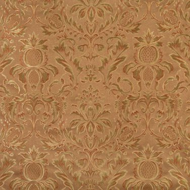 F556 Brown Bronze Green Ivory Floral Pineapple Damask Upholstery Drapery Grade Fabric By The Yard