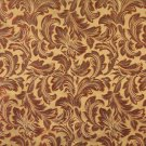 F573 Olive Green Orange Ivory Burgundy Floral Leaf Damask Upholstery Drapery Fabric By The Yard