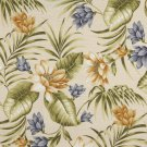 "54"""" Wide C403 Blue, Green And Gold, Floral Outdoor, Indoor, Marine Upholstery Fabric By The Yard"