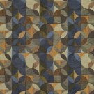 """54"""""""" Wide F512 Green, Gold And Blue, Geometric Chenille Upholstery Fabric By The Yard"""
