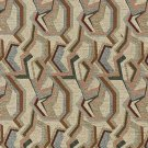 """54"""""""" Wide F850 Green, Blue And Burgundy, Geometric Chenille Upholstery Fabric By The Yard"""