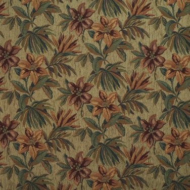 """54"""""""" Wide F864 Green, Red And Orange, Floral Chenille Upholstery Fabric By The Yard"""