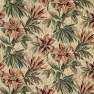 """54"""""""" Wide F866 Red, Orange And Green, Floral Chenille Upholstery Fabric By The Yard"""