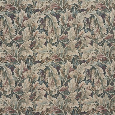 """54"""""""" Wide D568 Burgundy, Ivory And Green, Floral Leaf Tapestry Upholstery Fabric By The Yard"""