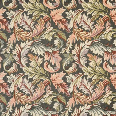 "54"""" Wide F901 Navy, Red And Green, Floral Leaves Tapestry Upholstery Fabric By The Yard"