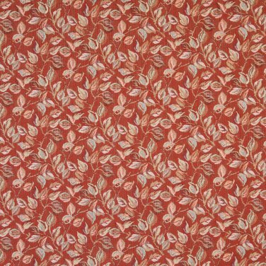 "54"""" Wide F912 Red, Pink And Green, Floral Leaves Tapestry Upholstery Fabric By The Yard"