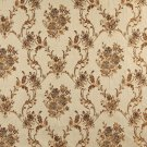 K0014E Beige Gold Brown Ivory Large Scale Embroidered Floral Brocade Upholstery Fabric By The Yard