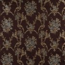 K0014F Brown Light Blue Gold Ivory Embroidered Floral Brocade Upholstery Fabric By The Yard