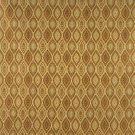 K0015H Gold Brown Ivory Small Scale Embroidered Pointed Oval Brocade Upholstery Fabric By The Yard