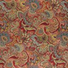 "54"""" Wide K0025B Green, Blue, Red and Gold, Abstract Floral Upholstery Fabric By The Yard"