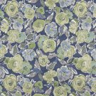 """54"""""""" Wide K0026B Blue, Green and White, Flower Patterned Contemporary Upholstery Fabric By The Yard"""