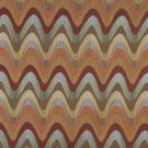 K0028A Orange Blue Green Beige Wavy Chevron Striped Contemporary Upholstery Fabric By The Yard