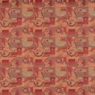 """54"""""""" C572 Red, Persimmon and Green, Abstract Geometric, Durable Upholstery Fabric By The Yard"""