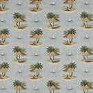"54"""" Wide A000 Sailboats Palm Trees Shade Umbrella Themed Tapestry Upholstery Fabric By The Yard"