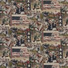A013 Pro Football American Flags Football Players Themed Tapestry Upholstery Fabric By The Yard