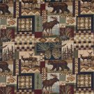 """54"""""""" Wide A014 Bears Deer Moose Acorns Pine Trees Themed Tapestry Upholstery Fabric By The Yard"""