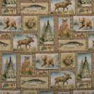 """54"""""""" Wide A023, Bears, Moose, Trees, Acorns and Fish, Themed Tapestry Upholstery Fabric By The Yard"""