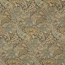 K0125A Tan Beige Brown Teal Floral Paisley Woven Indoor Outdoor Upholstery Fabric By The Yard