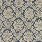 A451 Tan And Navy Blue Two Toned Floral Brocade Upholstery Fabric By The Yard | Width: 54""""