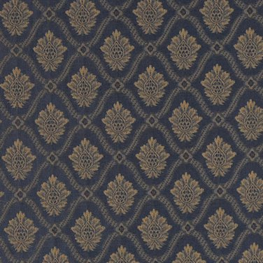 """A491 Navy And Gold Two Toned Brocade Medallion Upholstery Fabric By The Yard   Width: 54"""""""""""