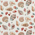 A200 Outdoor Indoor Upholstery Fabric By The Yard Assortment of Seashells - Pink Blue Red Beige