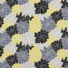 A202 Outdoor Upholstery Fabric By The Yard Contemporary Overlapping Flowers - Black Grey Yellow