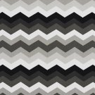 A210 Outdoor Indoor Marine Upholstery Fabric By The Yard  Chevron Flame Stitch - Black Grey White