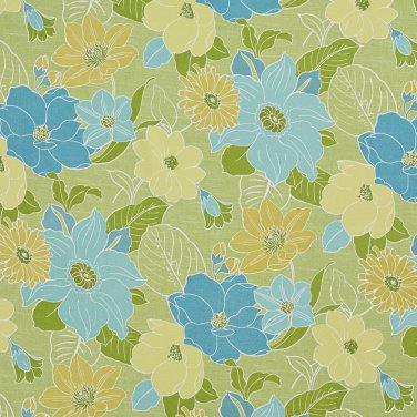 A214 Outdoor Indoor Marine Upholstery Fabric By The Yard| Large Flowers and Leaves - Green and Blue