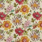 A215 Outdoor Indoor Upholstery Fabric By The Yard Contemporary Flowers Leaves - Yellow Red Green