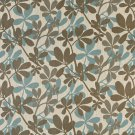 """C240 Teal, Taupe and Beige Contemporary Leaves Woven Upholstery Fabric By The Yard 