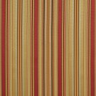 U0160G Sage Green, Red And Gold Shiny Thin Striped Silk Satin Look Upholstery Fabric By The Yard