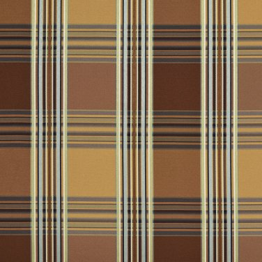 U0220C Gold Green Teal Brown Shiny Stripes Plaid Silk Look Upholstery Fabric By The Yard