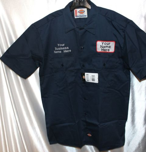 Dickies mens custom patch embroidered work uniform shirt for Dickey shirts clothing co