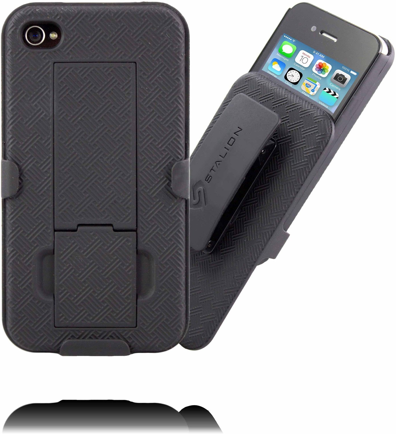 iphone 4 4s belt clip case stalion secure holster shell   kickstand combo  jet black Stallion Motorcycle Wild Stallions