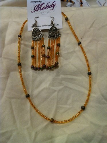 Beaded Earrings and Beaded Necklace