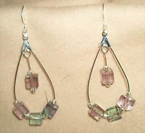 Rainbow Flourite Cubes and Sterling Silver Earrings