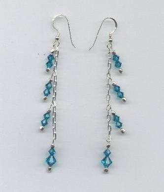 Swarovski Blue Zircon Crystals, Sterling Silver Chain