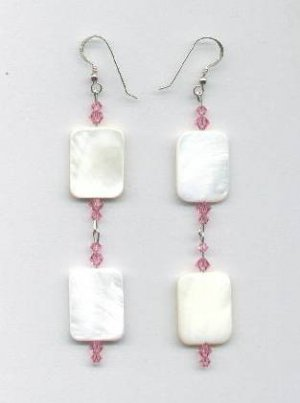Swarovski Light Rose Crystal and Mother of Pearl Rectangle Earrings