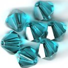 Swarovski Crystal 24 Blue Zircon 4mm Bicones 5301