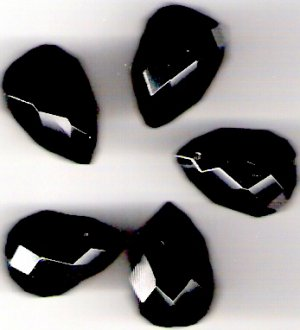 Black Onyx Faceted Briolettes 24mm X 16mm