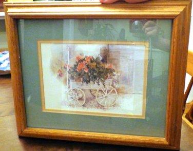 Framed Art by Dalina Darton Flower Cart, Dated 1985