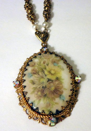 Vintage Large W Germany Edwardian Style Pendant on Gold Tone Chain