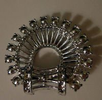 Vintage Silver Toned Semi-Circle Pin