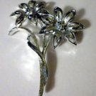 Vintage Toned Flower Brooch Pin