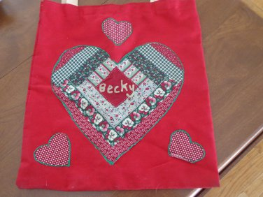 "Vintage Handmade Bookback/Tote Personalized ""Becky"""