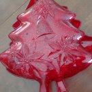 Set of Three Red Glitter Plastic Christmas Tree Shapped Plates
